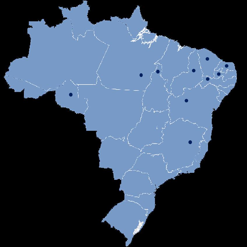 mapa com localização dos projetos